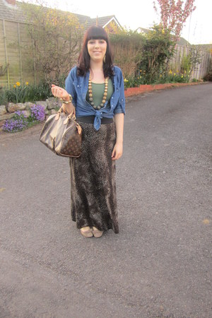 navy Dorothy Perkins shirt - brown Louis Vuitton bag - camel Peacocks flats - da