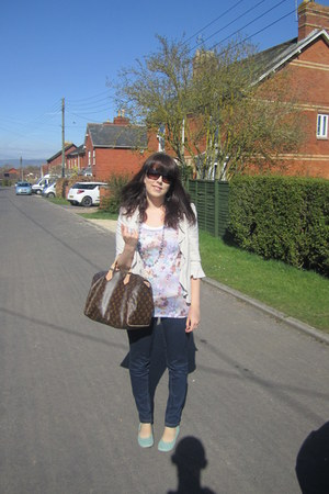 navy Matalan jeans - cream Matalan blazer - dark brown Louis Vuitton bag - light