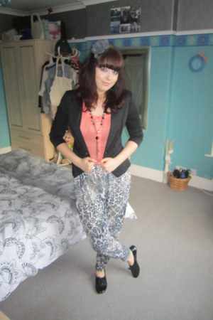 black new look blazer - silver Primark pants - carrot orange Matalan blouse - bl