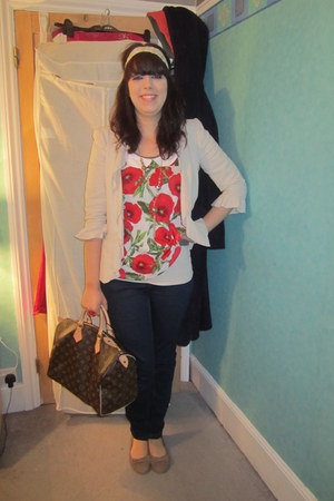 navy Matalan jeans - cream Matalan blazer - dark brown Louis Vuitton bag - tan P