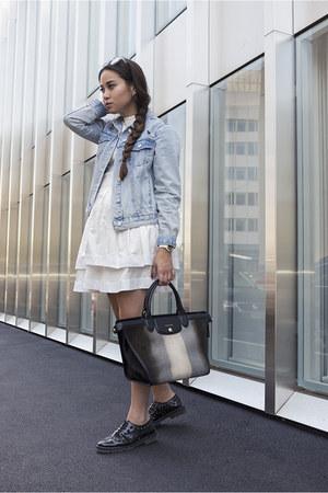 Mango shoes - Aziza Zina dress - denim jacket Topshop jacket - longchamp bag