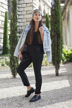 black studs Mango shoes - light blue denim jacket Topshop jacket