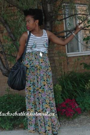 black faux leather Zara bag - bubble gum H&M top - aquamarine H&M skirt - light