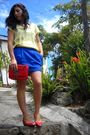 Yellow-h-m-shirt-blue-pimkie-skirt-red-zara-shoes-red-pull-bear-accessorie