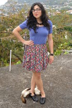 blue H&M t-shirt - red Zara skirt - black Soft Grey shoes
