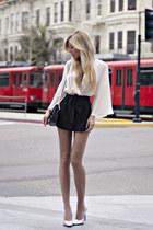black vintage Chanel bag - silver Christian Louboutin heels - Blaque Label suit