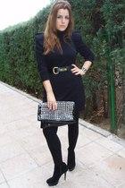 black dress - black boots - black