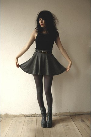 gray boots - gray tights - gray skirt - black lace top top