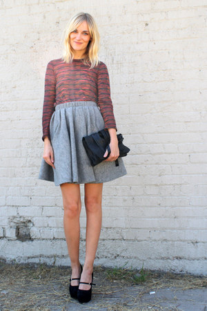 heather gray acne skirt - black Yvonne Kon bag - tawny PROENZA SCHOULER top
