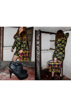 black boots - black Batman dress - yellow Victorias Collection bag