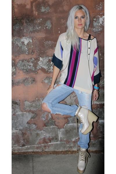 beige Vintage Escada blouse - beige Chole shoes - blue Vintage abercrombie pants