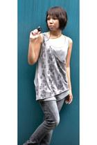 black brogues Janylin flats - heather gray skinny Terranova jeans