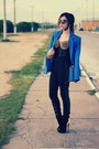 Black-boots-black-leggings-blue-blazer-sky-blue-bag-black-sunglasses