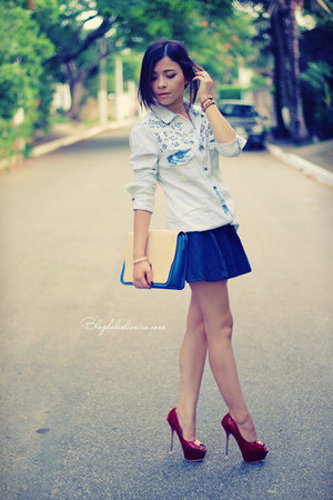 ivory shirt - red shoes - sky blue bag - navy skirt