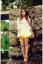 yellow shorts - white blouse