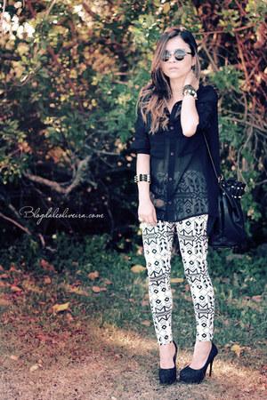 black bag - ivory leggings - black sunglasses - black blouse - black pumps