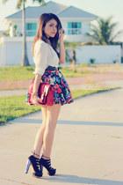 hot pink skirt - brick red bag - black sandals - eggshell blouse