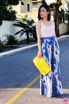 white t-shirt - yellow bag - blue pants
