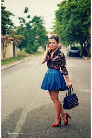 black blouse - blue skirt