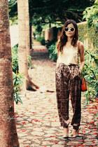 beige shirt - brown pants