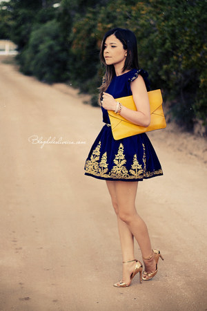 yellow bag - navy dress - gold sandals