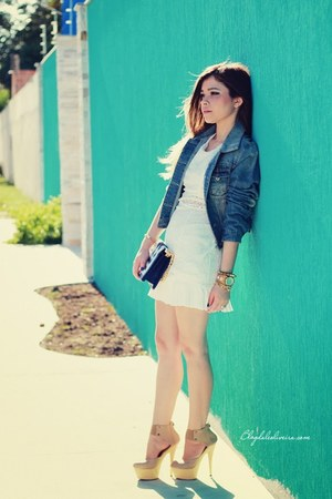 white dress - navy jacket