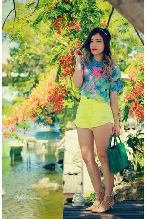 light yellow shorts - sky blue blouse