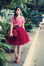 Brick-red-bag-ruby-red-skirt-bubble-gum-blouse