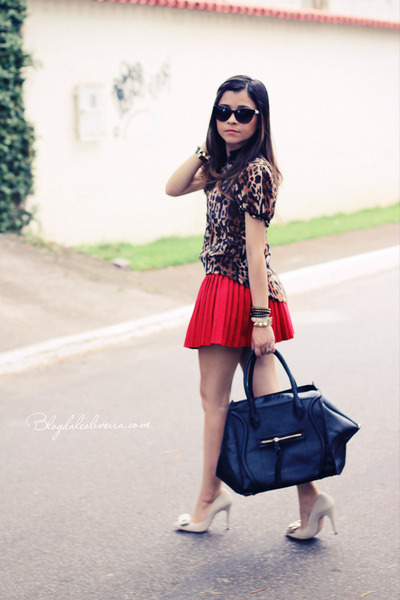 red skirt - black bag - brown blouse - off white pumps