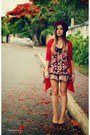 Coral-shirt-red-cardigan-beige-skirt