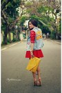 Sky-blue-jacket-yellow-bag-red-skirt