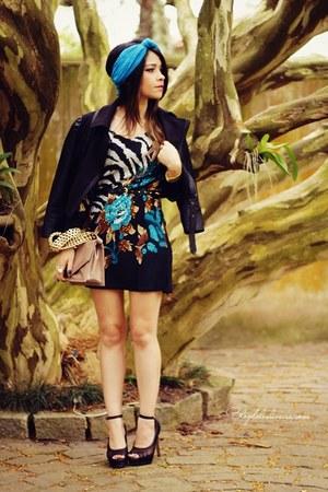 black dress - black jacket - brown bag - black pumps - sky blue accessories