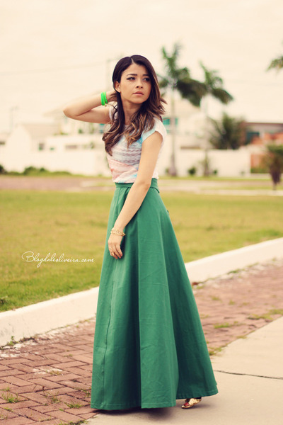 green skirt - sky blue blouse