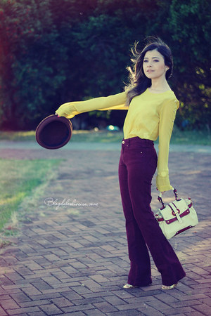 beige bag - maroon pants - yellow blouse