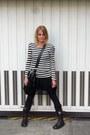 Black-warrior-trippen-boots-black-striped-dress-molly-bracken-dress
