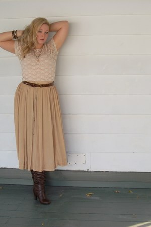 thrifted nude skirt - slouchy boots - lace nude top - thrifted belt
