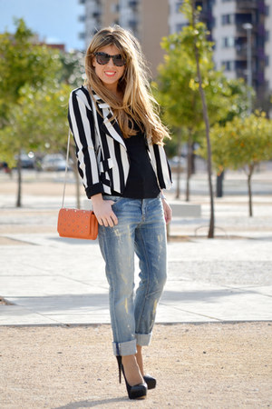 white stripes Bershka jacket - Bershka jeans - carrot orange Zara bag