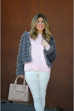 light pink Zara sweater - white Zara pants