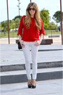 Red-zara-sweater-black-mango-bag-dots-zara-pants-black-zara-heels