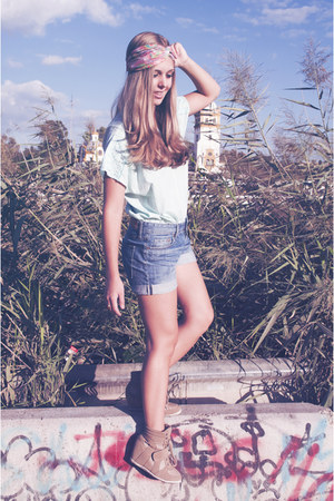 jeans H&M shorts - pink Forever 21 accessories - light blue Ropero vintage top