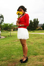 White-valley-girl-dress-red-cocolatte-cardigan-black-london-rebel-wedges