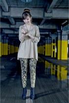 boots - Ebay leggings - H&M blouse