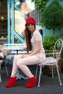 Red-czasnabuty-boots-red-reserved-hat-white-stradivarius-blouse