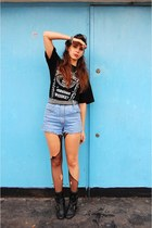 black boots - light blue SH shorts - black Jack Daniels blouse