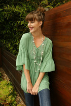 chartreuse Blue Tassel blouse