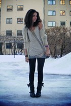 black biker boots sendra boots - dark brown brenda Alexander Wang bag - blue den