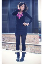 black t by alexander wang dress - black sendra boots - hot pink Mulberry bracele