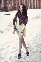 black clog Aldo shoes - dark brown silk Tusnelda Bloch scarf - blue denim Zara s
