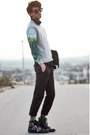 Black-buckled-shoes-versace-x-h-m-shoes-chartreuse-romwe-shirt