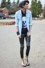 Light-blue-spikes-denim-chicnova-shirt-charcoal-gray-mesh-skull-romwe-shirt